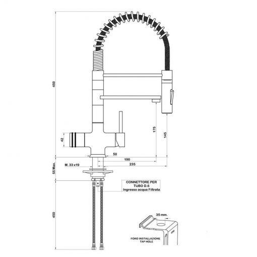 Immagine del disegno tecnico del miscelatore 3 vie