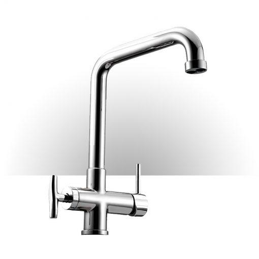 Miscelatore meccanico Cromo a 4 vie Canna Alta, per acqua Calda Fredda della rete idrica e 2 acque Purificate.