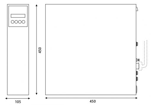Immagine del disegno tecnico con proporzioni e misure del depuratore acqua alcalina