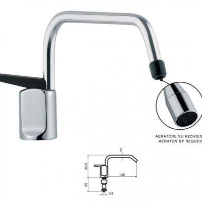 Immagine di un rubinettino 1 via con dettaglio aeratore e misure
