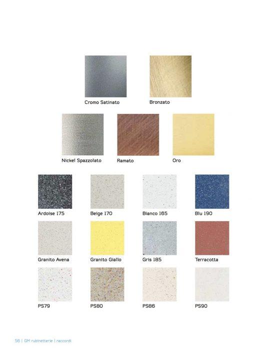 Immagine della serie di esempi, colorazione e materiali disponibili per rubinetti e miscelatori