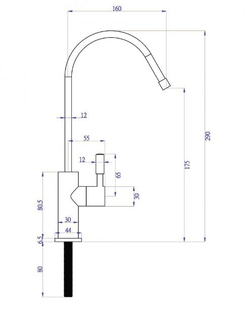 Immagine del disegno tecnico del rubinettino aggiuntivo a 1 via con levetta in acciaio per acqua purificata