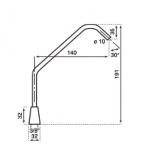 disegno tecnico del rubinetto aggiuntivo per frigogasatori con telecomando wireless