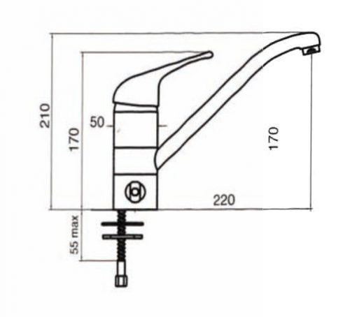 Immagine del disegno del miscelatore monocomando a 3 vie eco meccanico color cromo per acqua calda/fredda e purificata