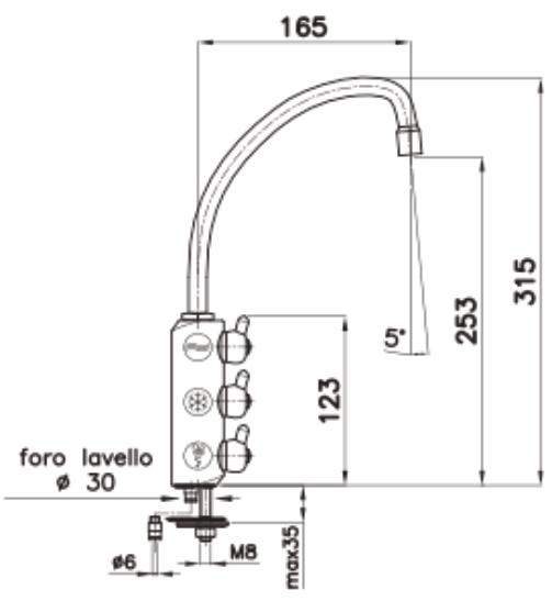 Immagine di un rubinetto aggiuntivo 3 vie cromo per acqua purificata con misure