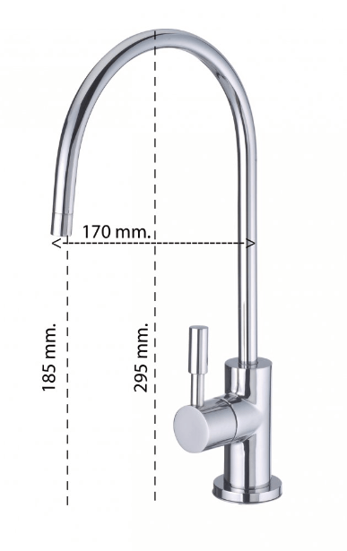 Immagine con le misure del rubinettino aggiuntivo a 1 via con levetta in acciaio per acqua purificata