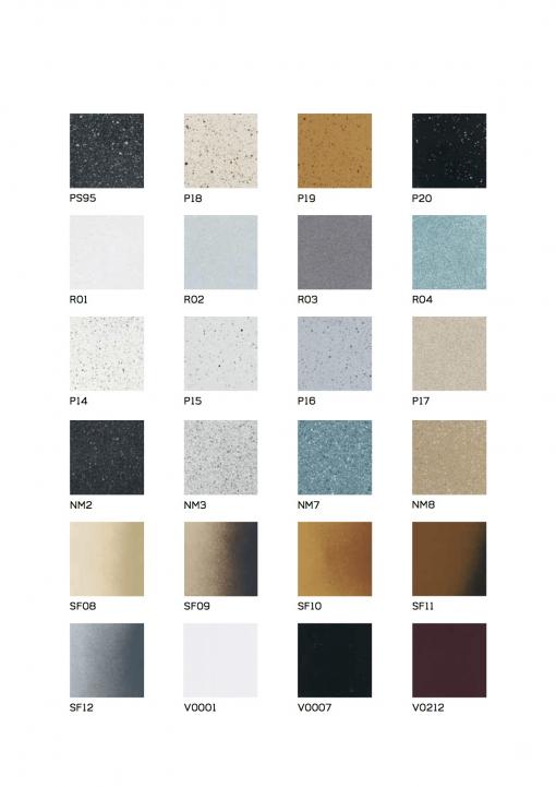 Immagine della tabella colori disponibili per miscelatori e rubinetti