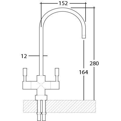 Immagine del rubinetto a due vie separate per acqua purificata con misure e dimensioni