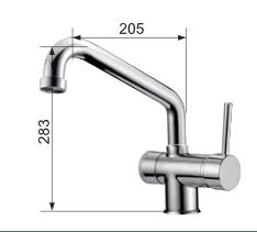Immagine del disegno tecnico del miscelatore meccanico cromo 3 vie canna bassa per acqua
