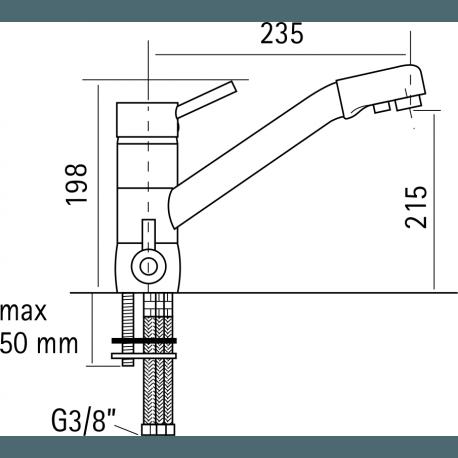 Immagine del miscelatore 4 vie Meccanico per acqua potabile disegno tecnico